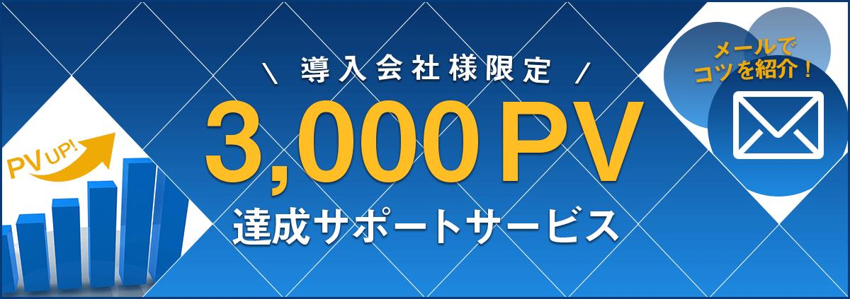 導入会社限定、3,000PV達成サポートサービス